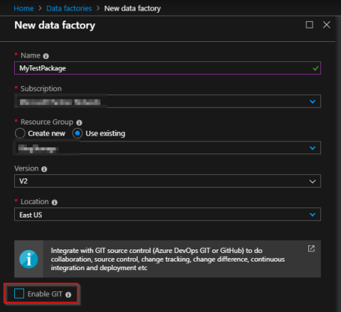Create Data Factory 3